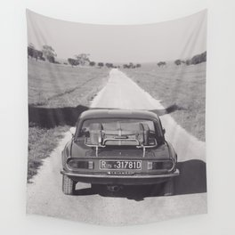 Triumph spitfire on a gravelly road in southern Italy, english sports car, fine art photography Wall Tapestry