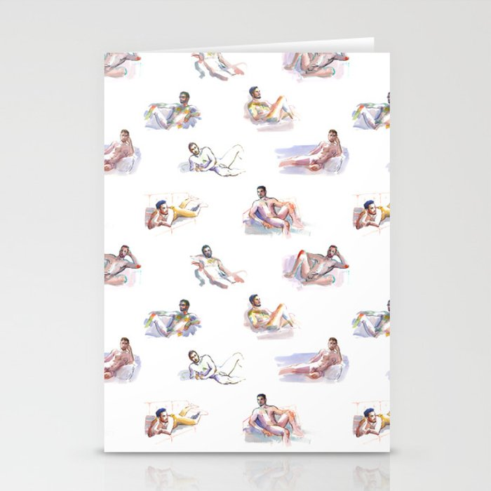LOUNGE, Nude Men by Frank-Joseph Stationery Cards