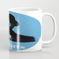 tom waits Mugs featuring Tom Waits Record Painting by All Surfaces Design