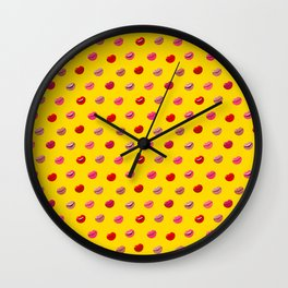 Red, pink and nude lips on yellow background pattern Wall Clock