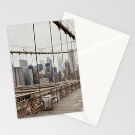 View on downtown from the Brooklyn Bridge in New York City, USA | Travel photography print | New York people walking | Tipical NY building architecture photo Art Print Art Print Stationery Cards