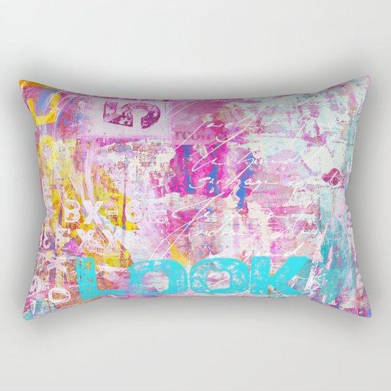 colorful mixed media typography Rectangular Pillow