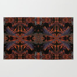 Psycho - Spooky Halloween Orange and Black Theme by annmariescreations Rug
