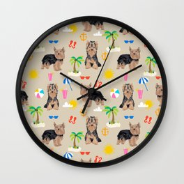 Yorkshire Terrier dog breed pet pattern dog art pet friendly terriers portrait beach summer Wall Clock