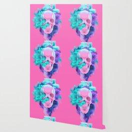 Colored Smoking Skull Wallpaper