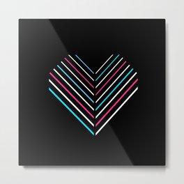 Transcend Neon Heart Metal Print