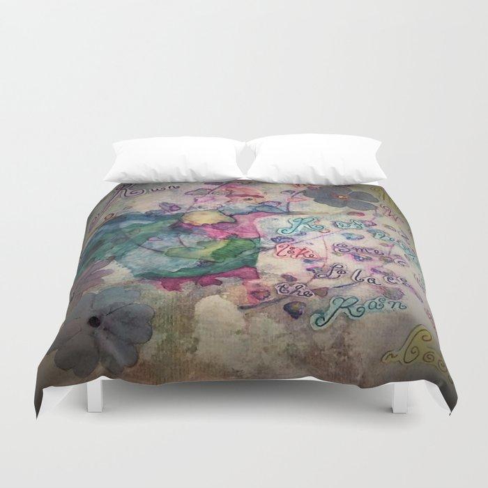 Lilacs in the Rain Duvet Cover