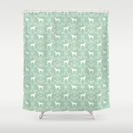 Irish Setter floral dog breed silhouette minimal pattern mint and white dogs silhouettes Shower Curtain
