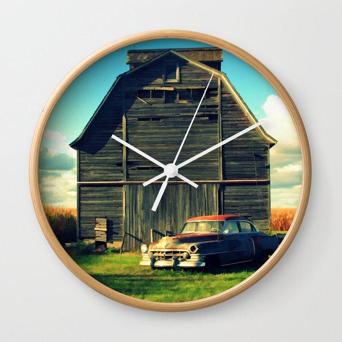 1950 Cadillac & Barn Wall Clock