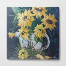 Sunflowers in a Country Pot Metal Print