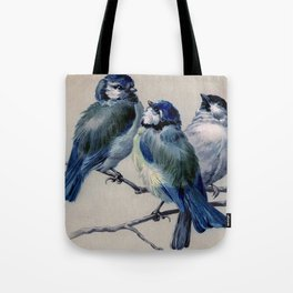 Vintage Cute Blue Birds on Branch Tote Bag
