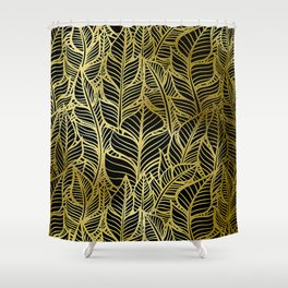 Glamorous and Glitzy Art Deco Gold Leaf Pattern Shower Curtain