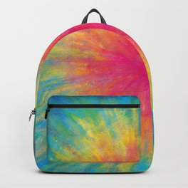 Tie Dye Rainbow Vibrant Saturated Painting Drawing Coloring Backpack