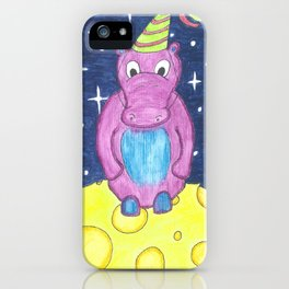 Party On The Moon Hippo iPhone Case