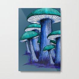 Magically Blue Mushrooms Metal Print