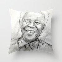 mandela Throw Pillows featuring Mandela by Tamara Patrick