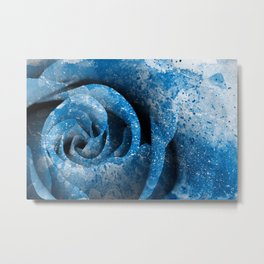 Blue Acrylic Rose Metal Print