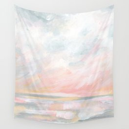 Overwhelm - Pink and Gray Pastel Seascape Wall Tapestry