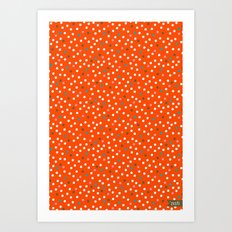 Pink Flamingo Polka Dots Art Print