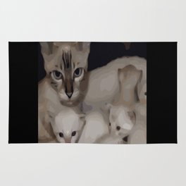 Luna the snow bengal cat and her kittens Rug