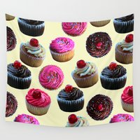 cupcakes Wall Tapestries featuring Cupcakes by Tangerine-Tane