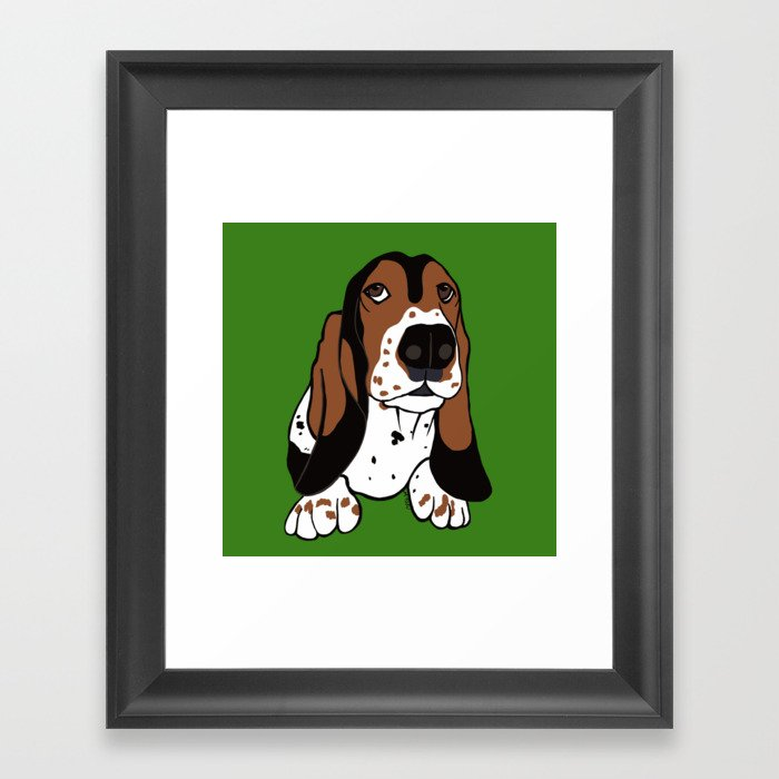 A Dog Mom and Her Basset Hound Framed Art Print