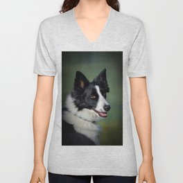 Borer Collie Portrait  Unisex V-Neck