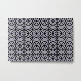 Pantone Lilac Gray and Black Rings Circle Heaven 2, Overlapping Ring Design Metal Print