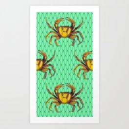 Green Underwater Crab Pop Art Art Print