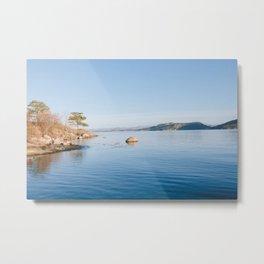 Norwegian fjord landscape in winter Metal Print