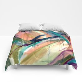 Brave -  a colorful acrylic and oil painting Comforters