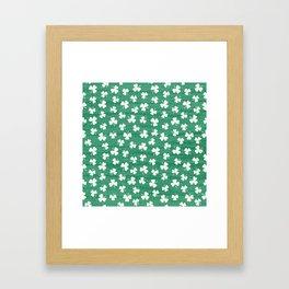 DANCING SHAMROCKS on green Framed Art Print