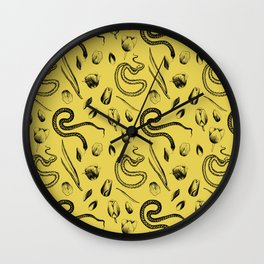 Snake and Tulip Pattern Wall Clock