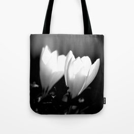 You Two - Crocus Flowers Black And White Tote Bag