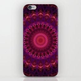 Red, pink and violet mandala iPhone Skin