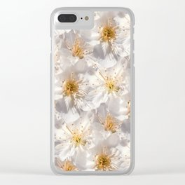 White Cherry Blossoms Pattern Clear iPhone Case