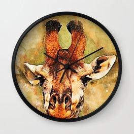 Giraffe art #giraffe #animals Wall Clock