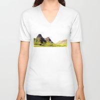 scotland V-neck T-shirts featuring glencoe panorama landscape, scotland. by zenitt