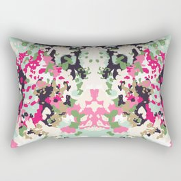 Finch - Modern abstract painting in free style modern colors navy, mint, blush, pink, white Rectangular Pillow
