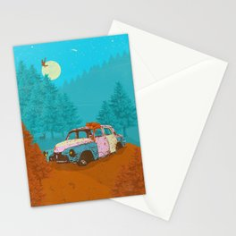 FOX & OLD RUSTY CAR Stationery Cards