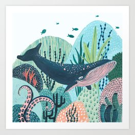 Happy Blue Whale Art Print