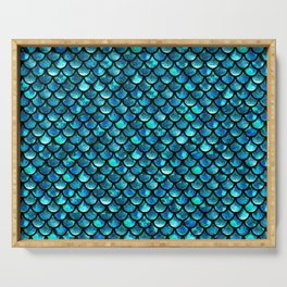 Mermaid Scales - Turquoise Blue Serving Tray