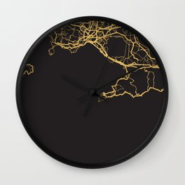 NAPLES ITALY GOLD ON BLACK CITY MAP Wall Clock