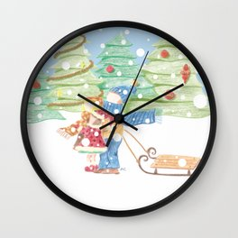 Kids playing in the snow vintage illustration Wall Clock