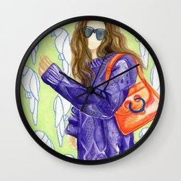 Parrot Pattern Girl, Street Style Wall Clock