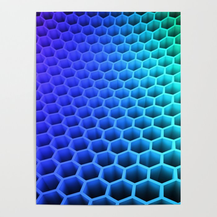 3D Colorful Honey Comb Hexagon Pattern Ultra HD Poster