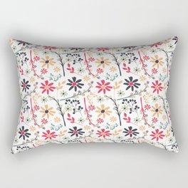 Hand painted red black orange brushstrokes floral pattern Rectangular Pillow