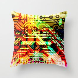 Color circuit Throw Pillow