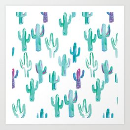 Painted cacti repeat pattern - mint and purple Art Print
