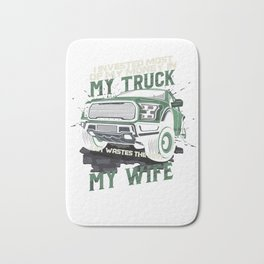 My Truck My Wife Dirt Track Racing Racer Auto Racing Race Cars Gifts Bath Mat